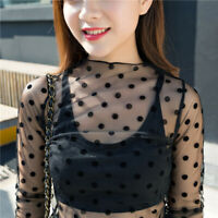 Sexy Women All Lace Sheer Mesh Long Sleeve Party Tee Tops t Shirt under Blouse