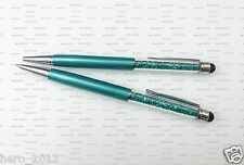 2 in 1Peacock green Crystal Stylus Screen Capacitive Pen for Pad Phone Tablet