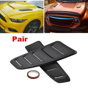 2pcs DIY Black Car Decorative Air Scoop Flow Intake Hood Vent Bonnet Universal