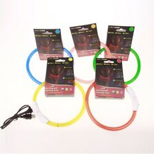 Rechargeable USB Waterproof LED Flashing Light Band Safety Pet Dog Collar GREEN