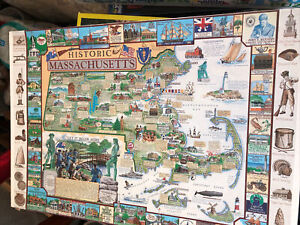 "Vintage White Mountain 1000 Piece Puzzle Historic Massachusetts 1993 24""x30"""
