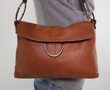 ALFANI Medium Brown Leather Shoulder Hobo Tote Satchel Purse Bag eafac1c126