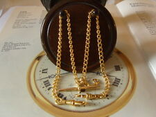 POCKET WATCH CHAIN / ALBERT 9CT GOLD/P NOS LONG TRACE LINK TWO DOG CLIPS & T BAR