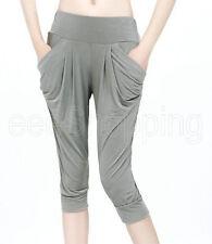 Summer Women's Maxi Loose Short Legging 7/10 Harem Capri Pants Yoga Orange Black
