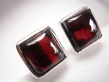 Garnet Square Stud Earrings 925 Sterling Silver Cube 4.75ct New