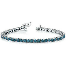 2.20 CARAT FANCY BLUE DIAMOND TENNIS ETERNITY BRACELET 4 PRONG 14K WHITE GOLD 7""