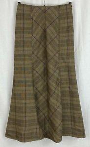 M&S PER UNA Womens Brown Italian Wool Check Flare Skirt Size 8