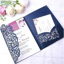 50pc Tirlfold Lace Rose Pocket Invitations Cards Wedding Birthday Greeting Cards