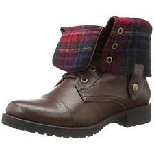 New PENNY LOVES KENNY Brown Devon Lace Up Plaid Combat Ankle Fold Over Boots 7