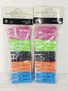2 Pack-Plastic Clothespins Assorted Colors, 30 pcs - Clothes or Crafts