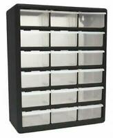 18 Plastic Cabinet Drawers Bins Garage Tools Parts Organizer Large Storage Boxes