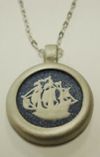 "Authentic Wedgwood- Round Necklace - ""Hind Ship""  Blue Speckled Jasperware"
