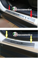 FIAT 500X DOOR SILL TRIM COVERS PROTECTORS STEEL SET  BRUSHED WITH LOGO CHROME
