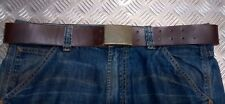 Genuine Vintage Eastern Block Military Brown Leather Trousers Belt - All Sizes