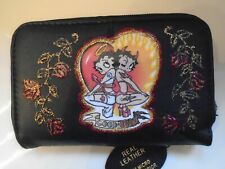 NEW BETTY  BOOP ( good & evil )  BLACK LEATHER  PURSE/WALLET
