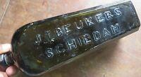 ANTIQUE green Glass Gin Bottle No.3 Dutch JT BEUKERS SCHIEDAM ROLLED LIP Rare