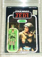 Vintage Star Wars 1983 AFA 80 PRINCESS LEIA COMBAT PONCHO ROTJ Card Back MOC UNP