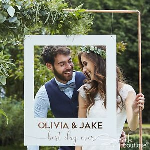 WEDDING PHOTO BOOTH FRAME or PROPS- Personalise with Names in Rose Gold Stickers