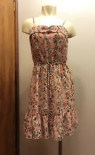 FOREVER 21 Womens Small S Pink Blue Floral Spaghetti Strap Casual Mini Sundress