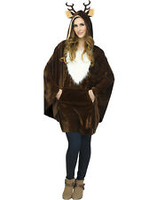 Reindeer Deer Rudolph Womens Adult Christmas Holiday Plush Costume Poncho