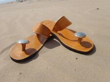 100% MOROCCAN LEATHER  TOE POST SANDALS TAN * 5 Sizes