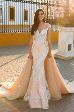Sexy Mermaid Wedding Dresses Applique Bride Gowns With Detachable Train