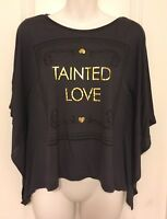DIVIDED H&M Women's Gray Grey Gold TAINTED LOVE Batwing Dolman Sleeve Top Size 2