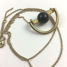 Modernist Style Necklace Slide Pendant Gold Tone Black Ball Unique