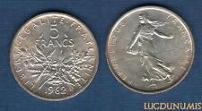 V République, 1959 - 5 Francs Semeuse en argent 1962 SPL