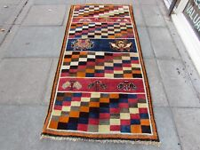 Vintage Old Traditional Hand Made Oriental Gabbe Wool Blue Red Long Rug 207x97cm