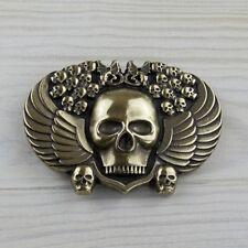 Totenkopf Gürtelschnalle Flügel Biker Gothic Drache Skull Buckle Wechselschließe