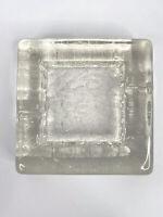 Vintage Heavy Glass Ice Block Ashtray 60s 70s MCM