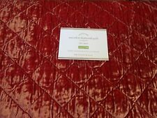 Pottery Barn Nia Velvet Quilt full queen red New w tag