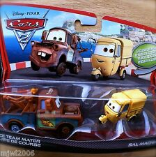 Disney PIXAR Cars 2 RACE TEAM MATER and SAL MACHIANI diecast TWO-PACK yellow Ape