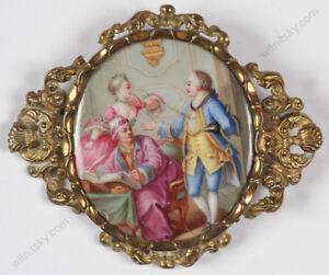 """Rococo Scene"", Enamel Miniature, Brooch, 19th Century"
