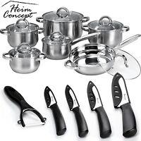 Heim Concept 12 Piece Cookware Set Stainless Steel Pots Pans + Ceramic Knife Set