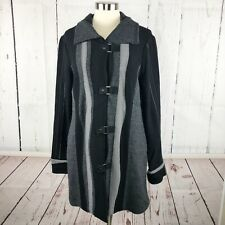 Icelandic Design Womens Sweater Coat Size M 100% Wool Nordic Wave Raw Hem Suede