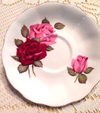 "Royal Albert Large Red and Pink Roses Saucer Gold Trim Bone China 5-1/2"" England"