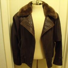 VTG Ann Taylor brown leather WOMENS BOMBER jacket BROWN oversized SIZE small