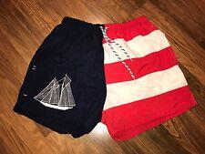 Vtg 80s BEACH Sailing NAUTICAL Flag Mens MEDIUM chubbies Swim suit trunks shorts
