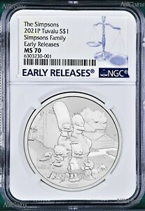 2021 Simpsons Family Simpson $1 1oz .9999 Silver COIN NGC MS70 ER