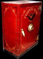 Vintage Faux Federal Bank Safe Cabinet with Shelves
