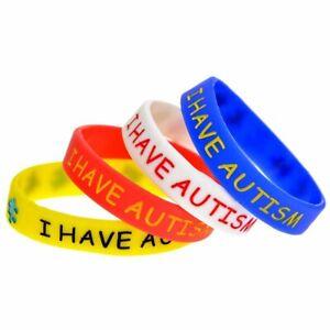 (X1) 'I HAVE AUTISM' Kids Awareness Bracelet Medical Alert ASD Wristband UK