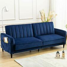Living Room Sofa Bed Convertible Tufted Velvet Fabric Futon Sofa Modern Couch