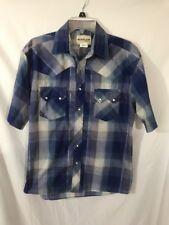 Rustler Medium Short Sleeve Western Shirt Blue Plaid