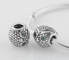 OWL 925 Sterling Silver Charm Bead Emerald Green CZ Eyes for Bracelet