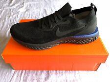 Nike Epic React Flyknit Triple Black Racer Blue AQ0067-004 Men's Size 11