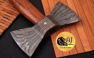 custom Forged Damascus Steel TOMAHAWK , HATCHET , AXE , INTEGRAL Double Head Axe