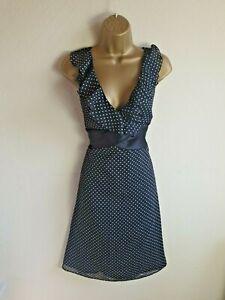 Next Size 14 Black Polka Dot Spotty Party Occasion Evening Dress - Womens