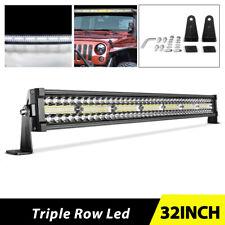 "32 inch 585W LED Light Bar Tri Row Flood Spot Combo ATV SUV RZR 4WD 30''/32"""